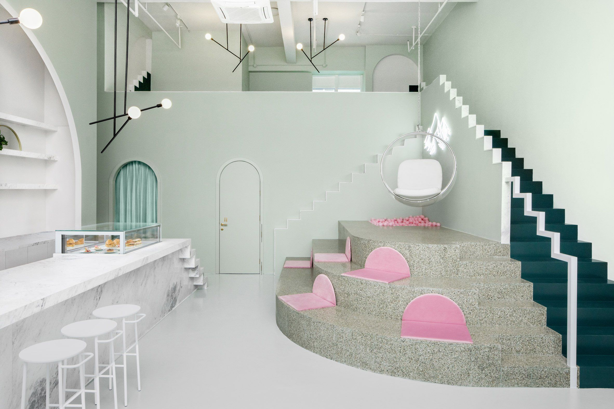 chengdu cafe features interiors inspired by wes anderson movie rh pinterest com