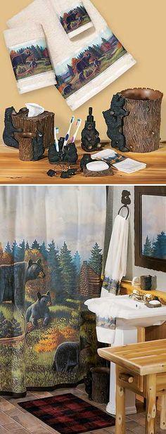 black bear lodge bath accessories wild wings bears in 2018 rh pinterest com