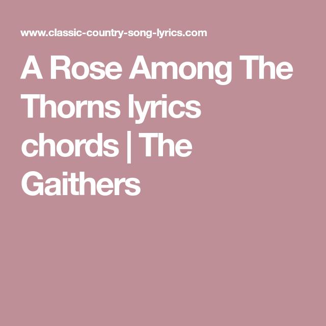 A Rose Among The Thorns lyrics chords | The Gaithers | Song lyrics. chords. Country song lyrics. Lyrics