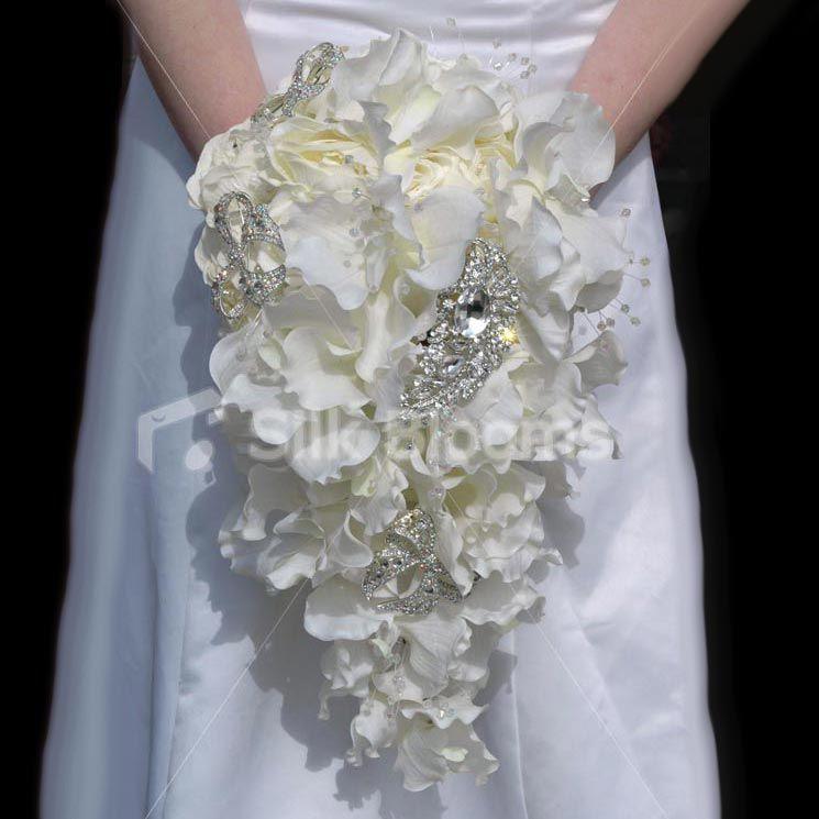Cascade Bouquet Silk Wedding Flower: Full Cascading Ivory Vanda Orchid Wedding Bouquet With