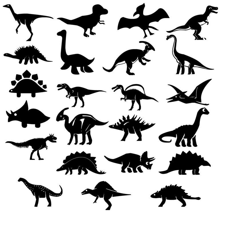 Dinosaur Party Black And White Silhouette Clipart Birthday Etsy Dinosaur Silhouette Silhouette Painting Clip Art