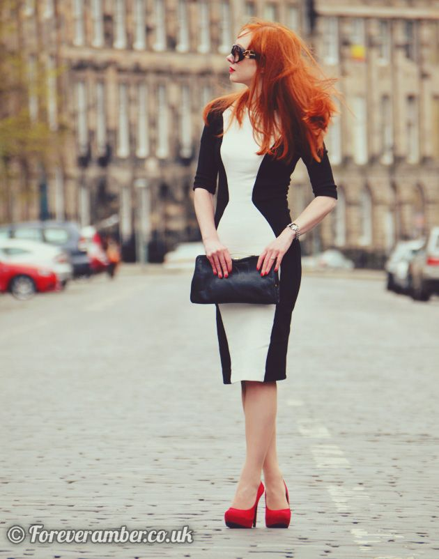 Black and white dress with red shoes on Forever Amber ...