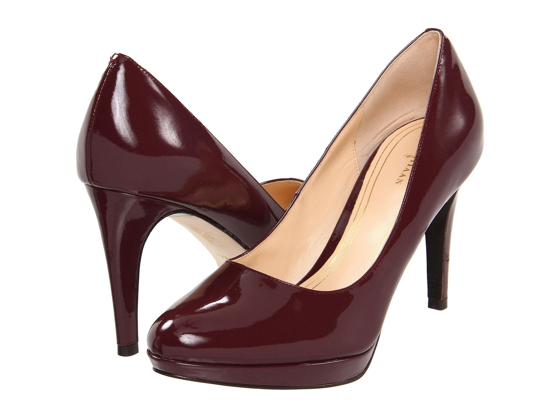 Maroon patent leather pumps