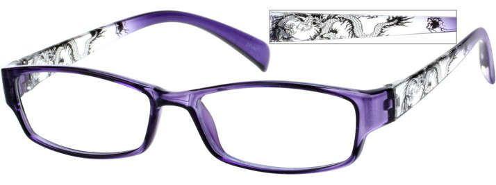 Zenni Womens Rectangle Prescription Eyeglasses Purple Plastic 257736 ...