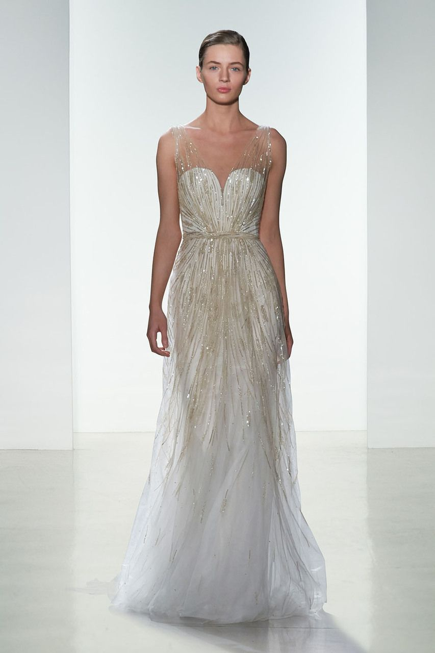 Bridals by lori amsale 0129113 in store httpshop amsale bridal talia hand beaded low v neck slim gown ombrellifo Images