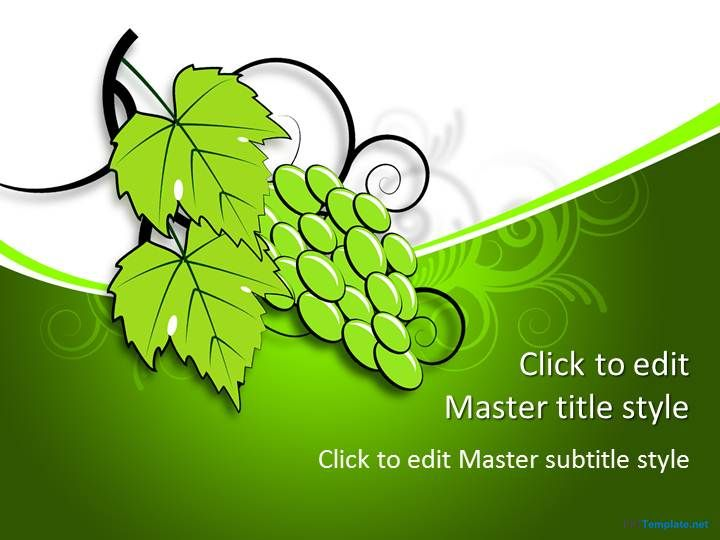 Free Grape PPT Template with green leaves and nice PowerPoint