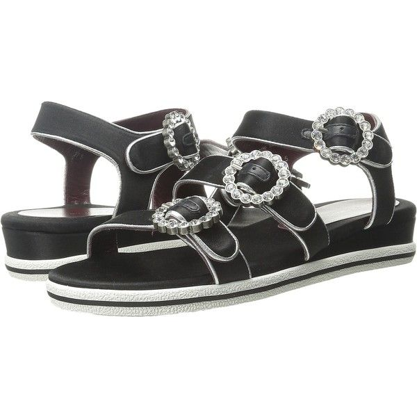 Marc by Marc Jacobs Charlotte Strass Buckle Sandal (Black) Women's... ($150) ❤ liked on Polyvore featuring shoes, sandals, black, leather shoes, sparkly sandals, open toe sandals, leather slip on shoes and slip on shoes