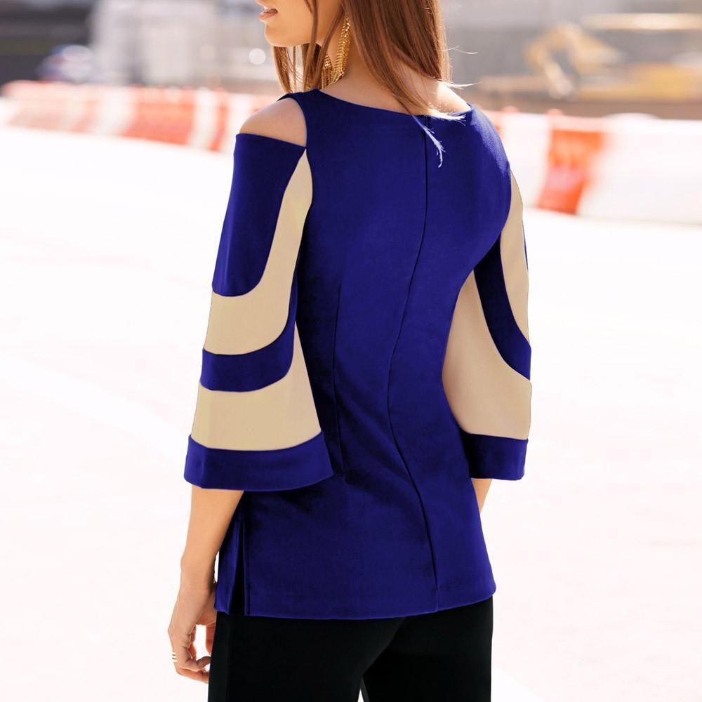 4acaca5a379fc1 Women Cold Shoulder Long Sleeve Sweatshirt Pullover Tops Blouse Shirt