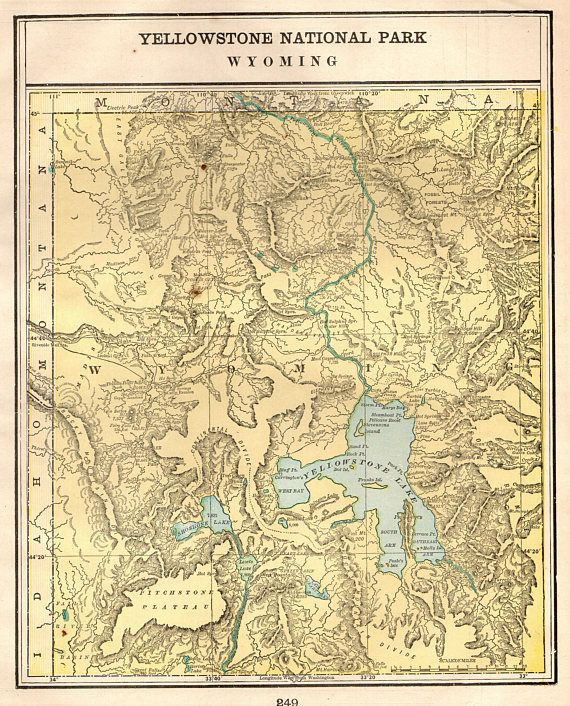 1901 Antique YELLOWSTONE National Park Map Of Yellowstone United