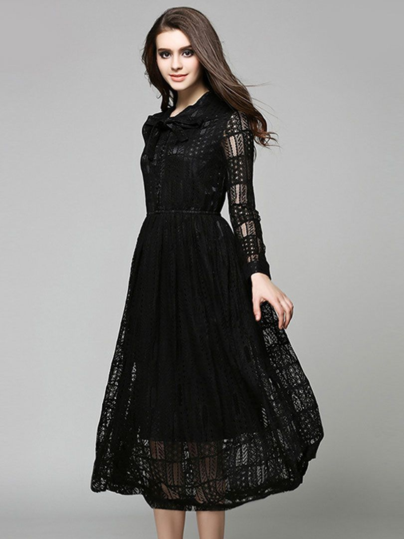 Black Bow Tie Front Long Sleeve Sheer Lace Midi Dress | II DRESSES ...