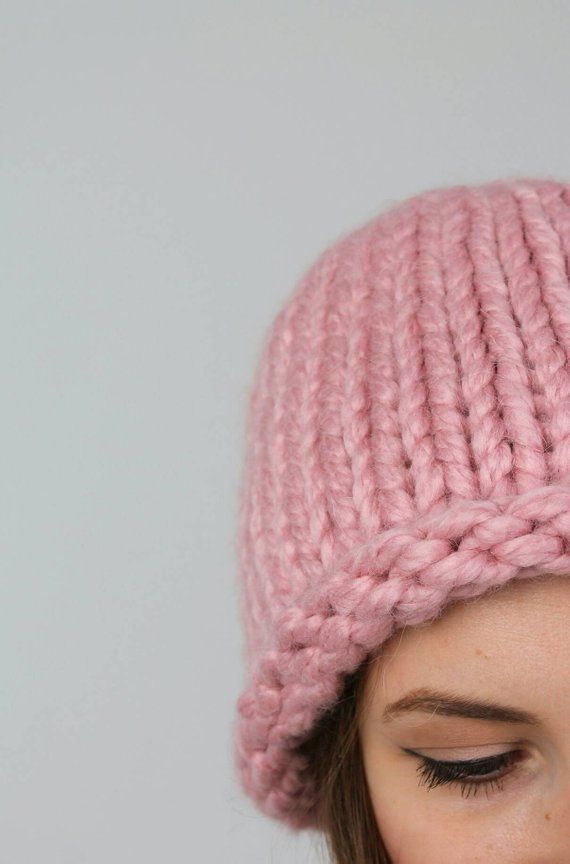 cf6fe9cd3a2a Womens winter knitted hat Chunky knit hat Knitted hat alpaca wool Oversized  beanie Giant yarn hat H