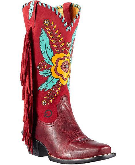 5901edf535d Ariat Santa Barbara Flower & Feather Print Fringe Cowgirl Boots ...