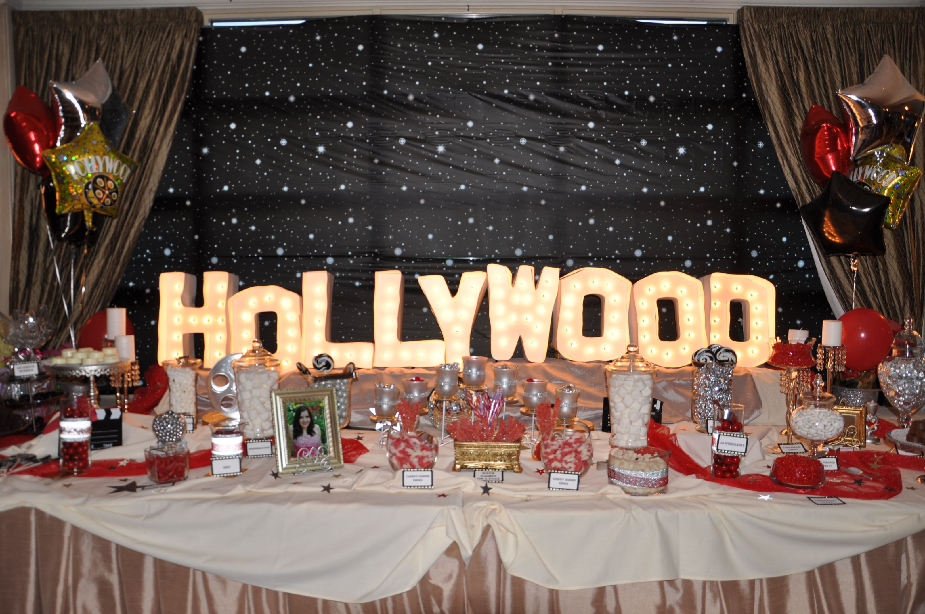 Candy Bar Sweet16 B Day Party Hollywood Themed