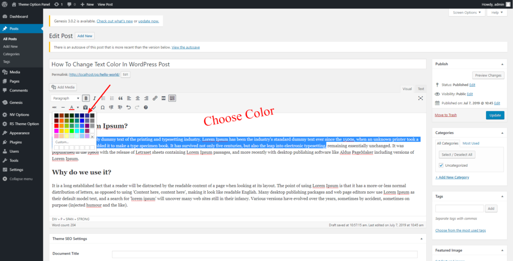 How To Change Text Color In Wordpress Post Rainastudio In 2020 Change Text Wordpress Text