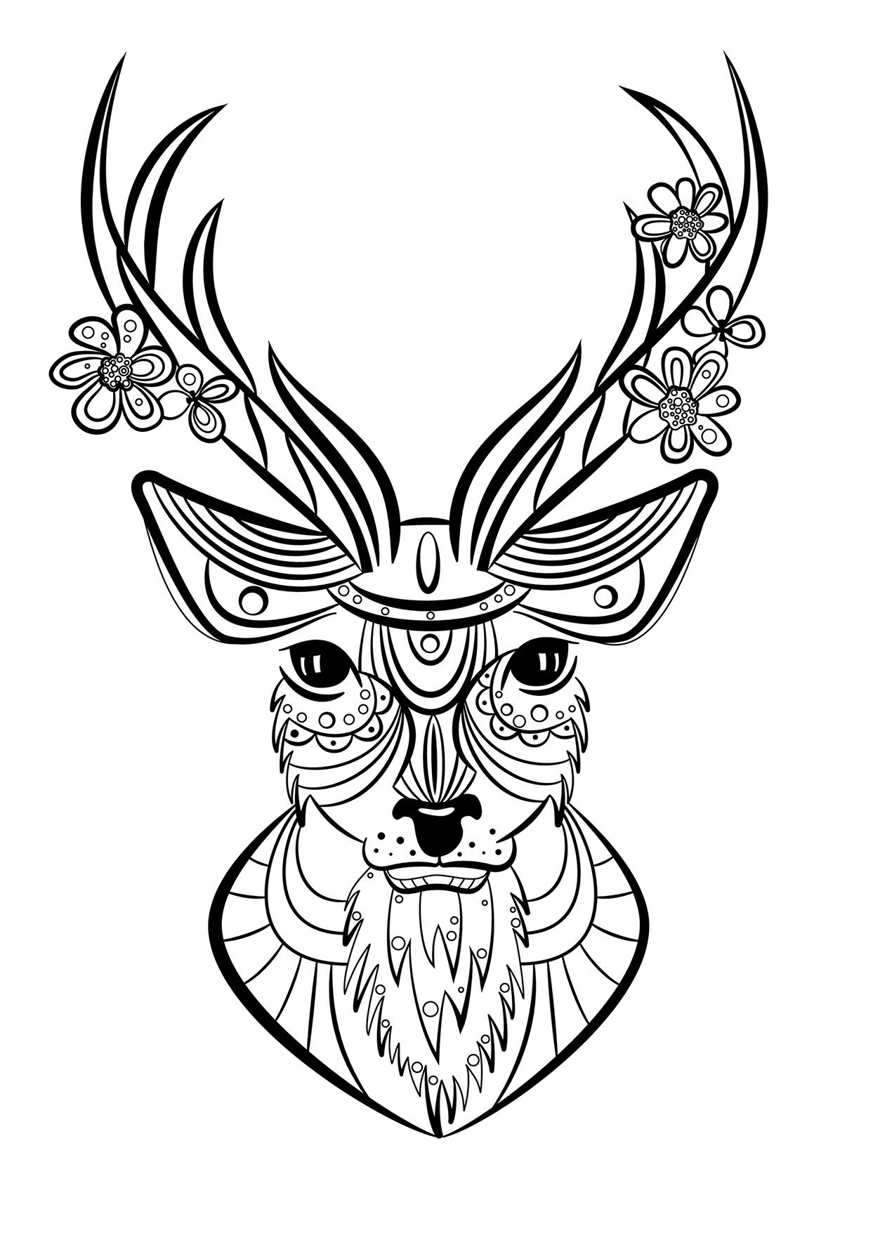 coloriage animaux cerf mandala pinterest. Black Bedroom Furniture Sets. Home Design Ideas