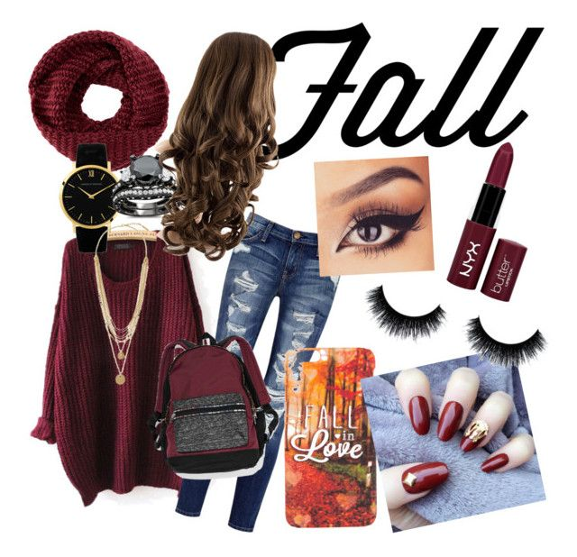 """""""Cozy fall look"""" by meganzpotter ❤ liked on Polyvore featuring Current/Elliott, Victoria's Secret, TOMS, Larsson & Jennings, Vince Camuto and NYX"""