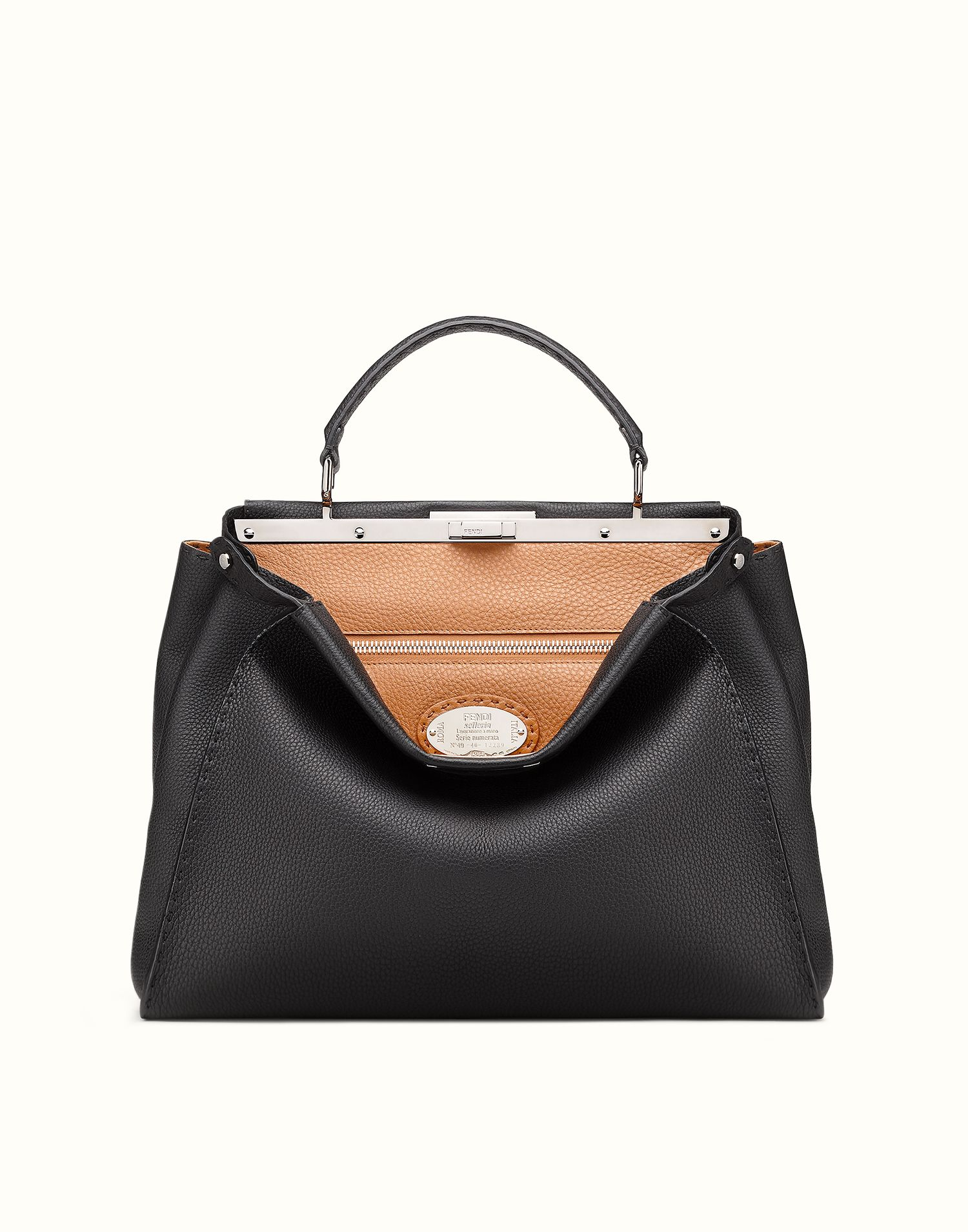 36da5fb9319c FENDI | SELLERIA PEEKABOO handbag in black Roman leather. Like the smooth  leather better but that version not big enough.
