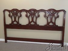 15836 Finely Carved Mahogany King Size Chippendale Bed Headboard New