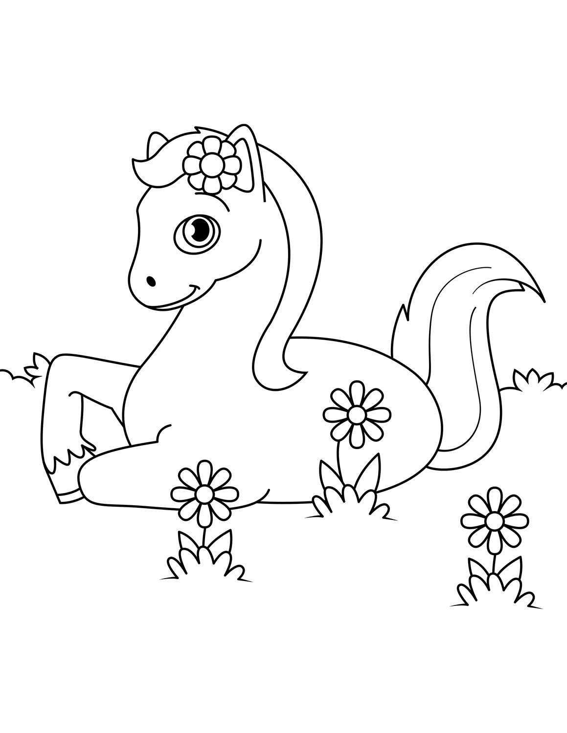 Cute Horse Laying Down In Flowers Coloring Page Horse Coloring Pages Horse Coloring Animal Coloring Pages