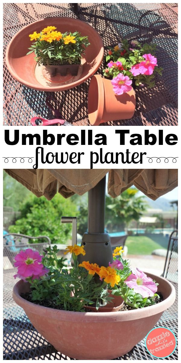 easy diy umbrella table flower planter best ideas for the home rh pinterest es