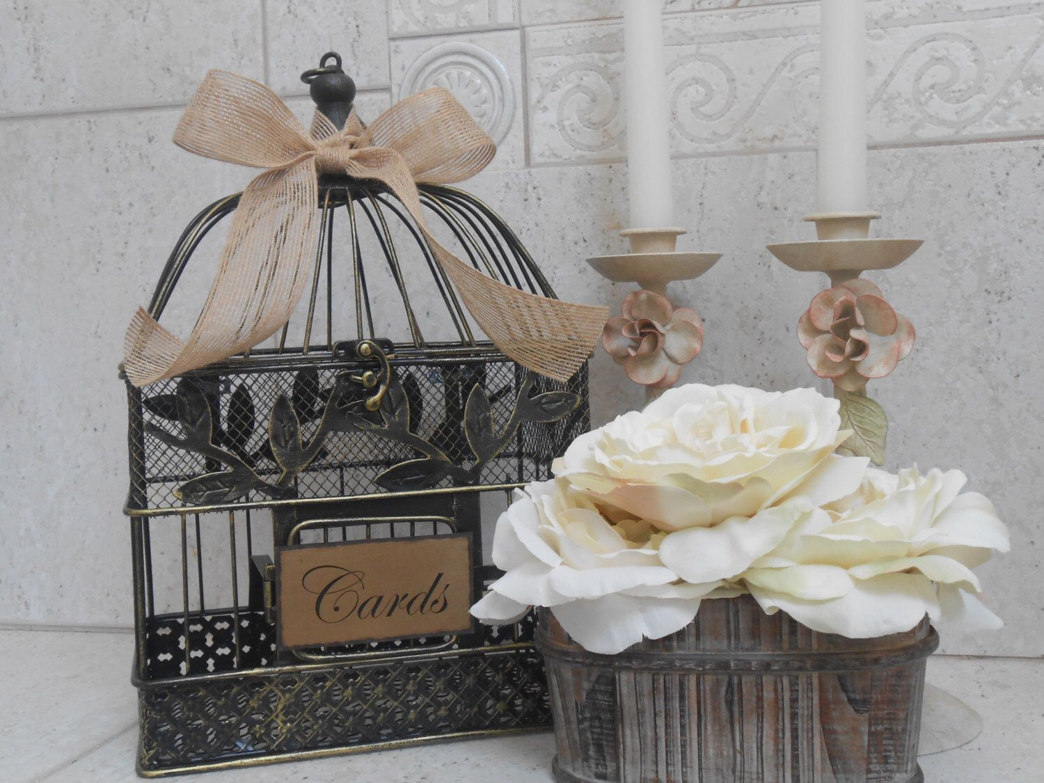 wedding gift card holders%0A Rustic Birdcage Wedding Card Holder  Birdcage Wedding Cardholder  Card  Box  Small Birdcage  Wedding Decorations  Wedding