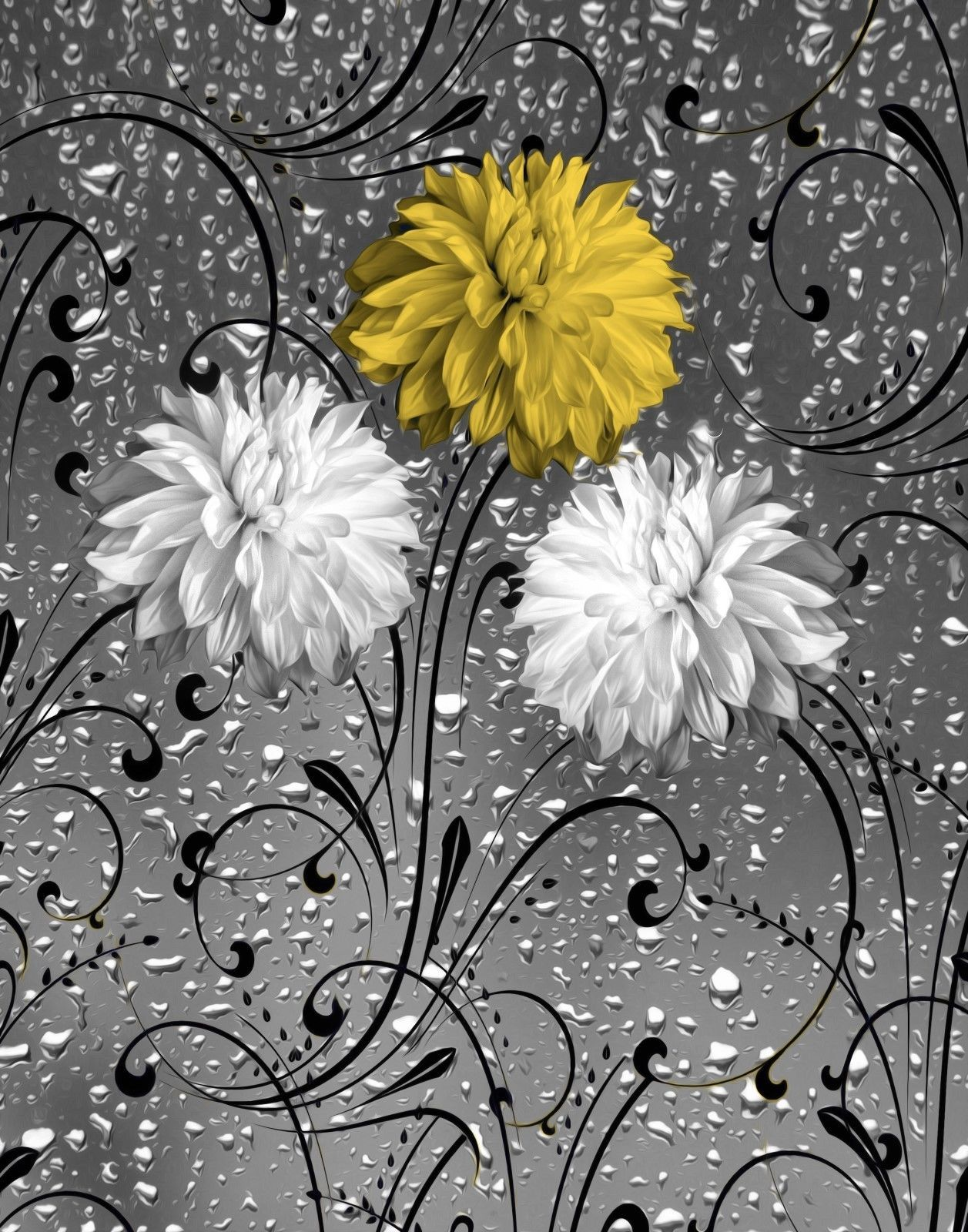 Yellow Gray Bathroom Home Decor Floral Raindrops Wall Art Matted