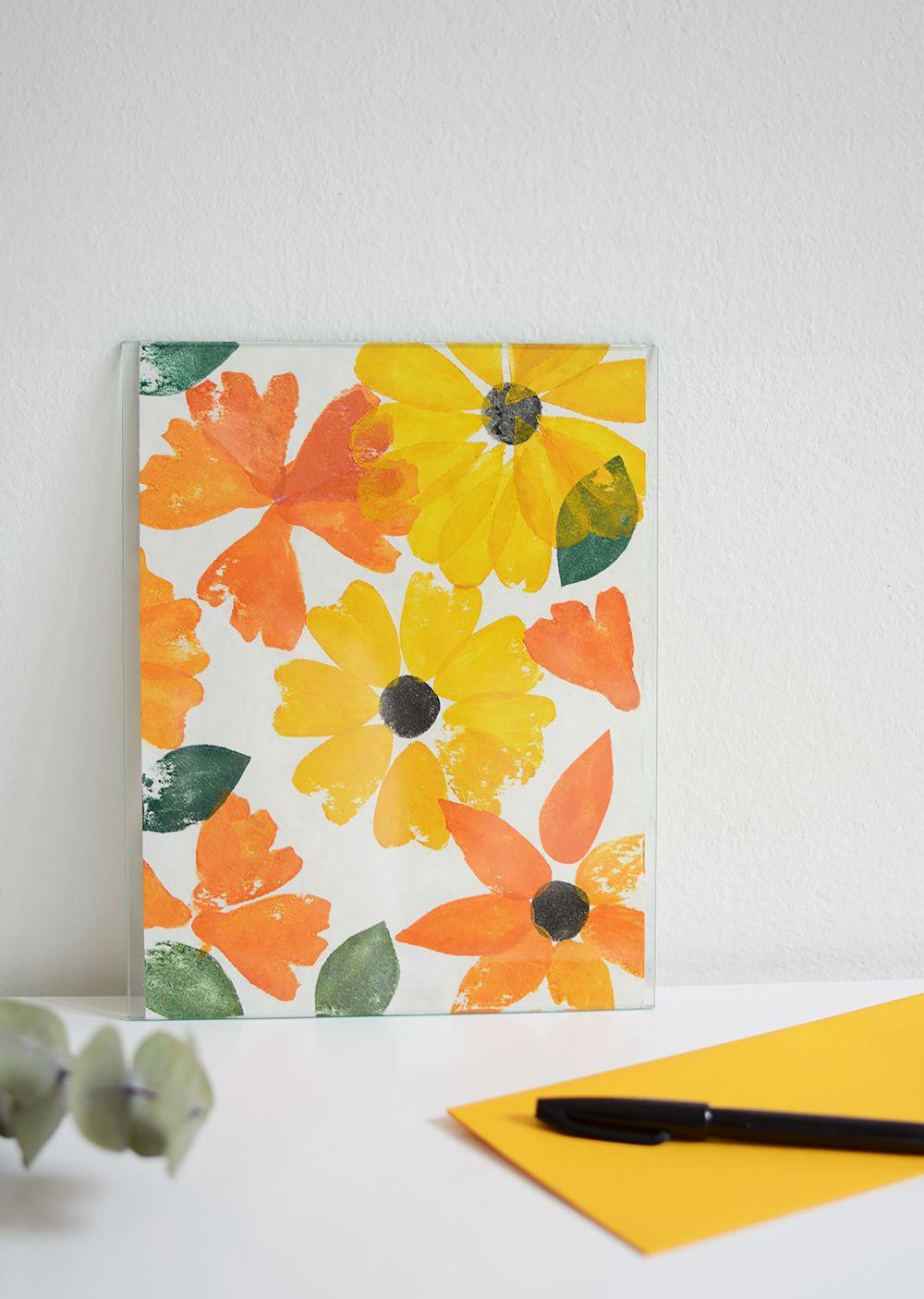 Diy Poster Mit Blumen Stempel Aus Moosgummi Stempel