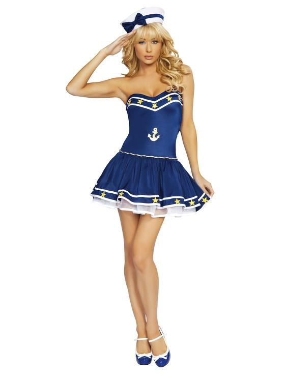 Sexy Captain Blue Navy Sailor Pin Up Outfit Womens Adult Halloween Costume New