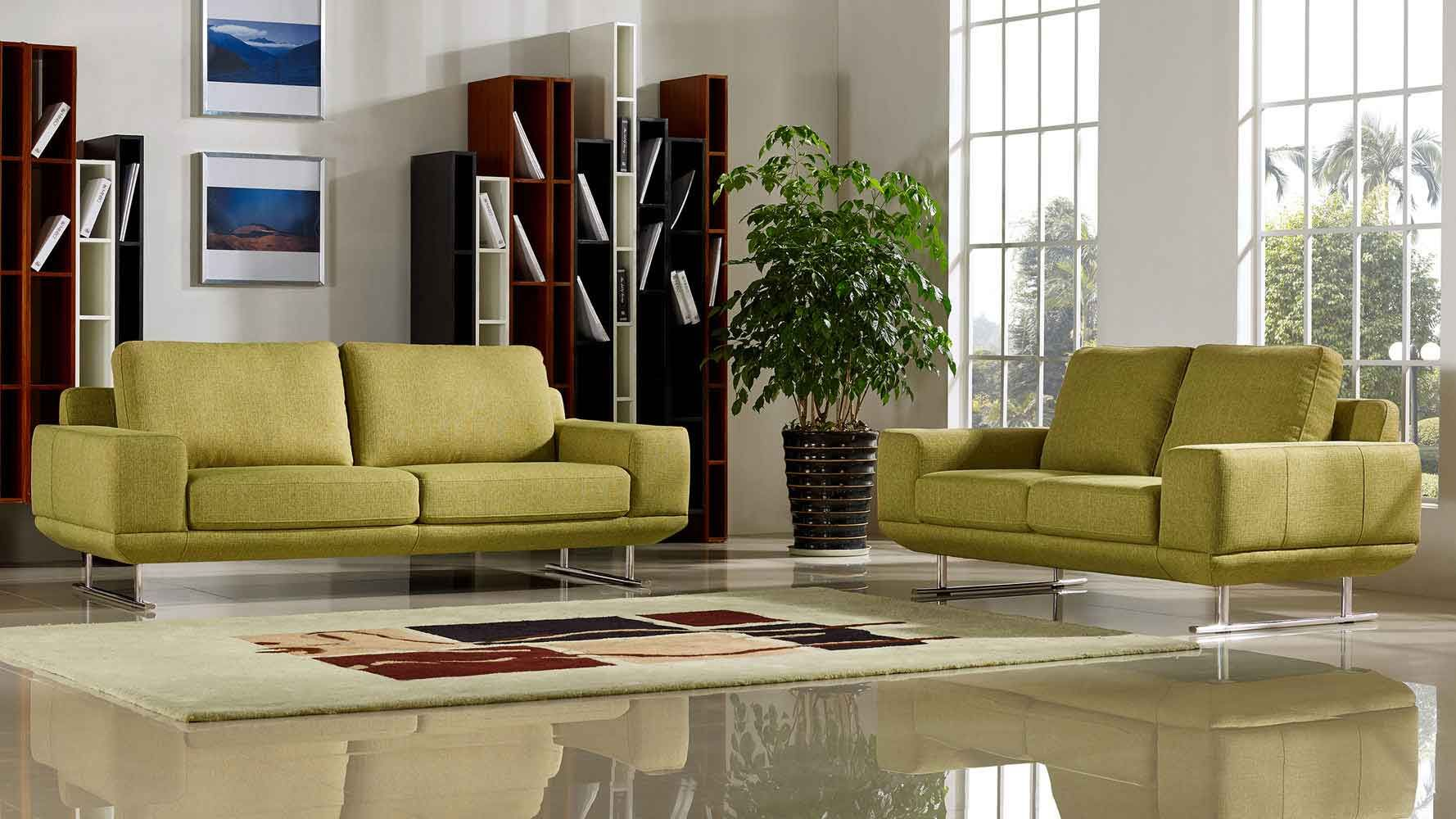 Shop Modern Chartreuse Fabric Della Sofa And Loveseat Set And Other Modern  And Contemporary Home And Office Furniture. Browse Our Selection Of Sofas  From ...