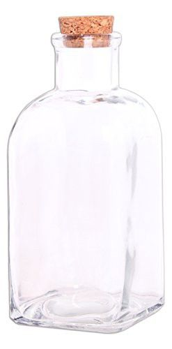 Decorative Bottles With Corks Adorable Couronne Co169 Ounce Clear Decorative Rectangular Glass Bottle Inspiration Design