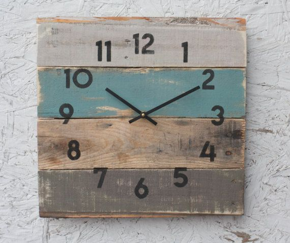 Rustic Beach House Decor Coastal Theme Reclaimed Wood Clock Soft Teal IN STOCK Ready To Ship