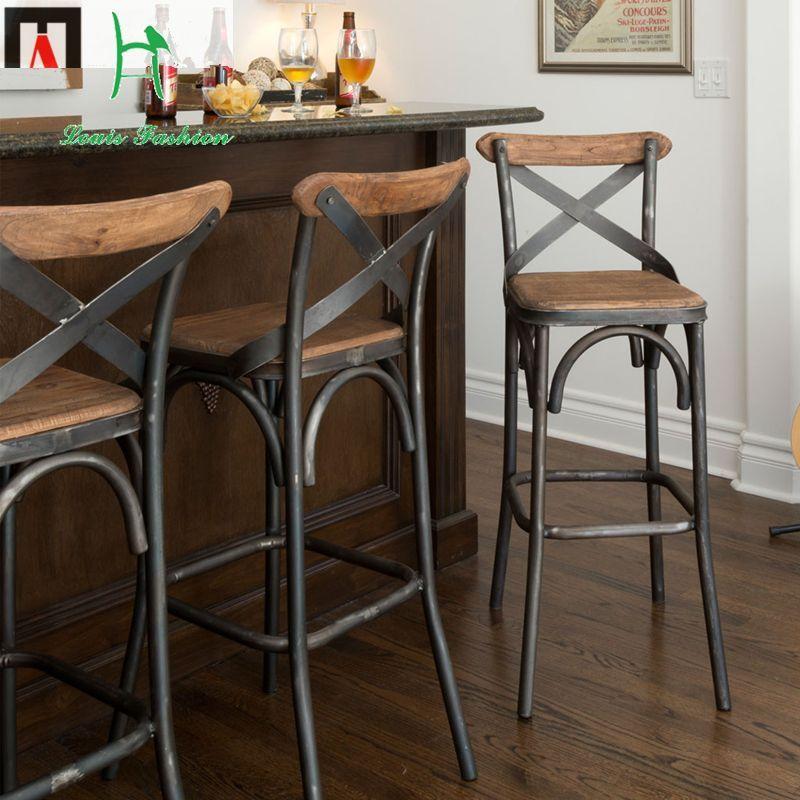 € 75.6 | Louis mode European Style Bar chairs iron wood Simple modern retro high desk stool | bar chair | wood bar chair | iron bar chairs - AliExpress - #chairs #european #louis #modern #retro #simple #style - #BarStools