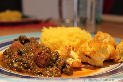 The Healthy Cooking Blog: Lamb in a spinach and mint sauce with saffron rice and turmeric roasted cauliflower