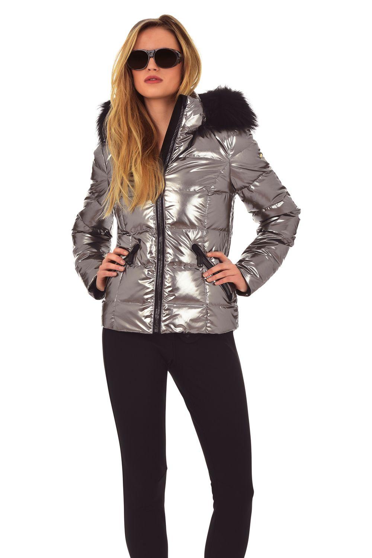 New Womens Metalic Fashion Jacket Padded Warm Ski Puffa Fur Hood Zip Coat Top