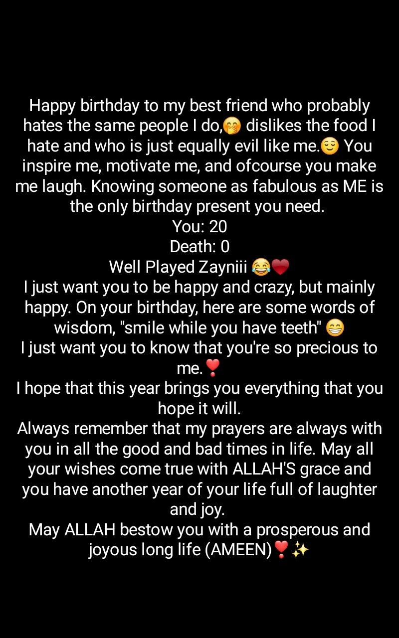 Happy Birthday To My Best Friend Who Probably Hates The Same People Friend Birthday Quotes Happy Birthday Quotes For Friends Happy Birthday Best Friend Quotes