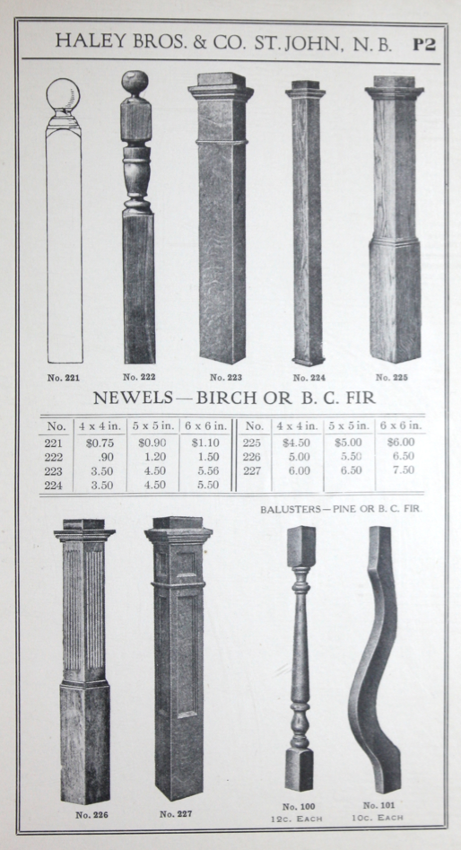 Newel Posts From 1917 Haley Bros Millwork Catalog Craftsman Staircase Vintage House Plans Entry Stairs