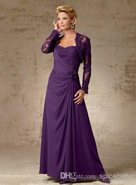Wholesale Mother of the Bride - Buy Custom Made Sheath Column Dress Fold Sweetheart Bridesmaid Dresses Anke Length Capped Junior Gowns Chiffon Long Sleeve Gown, $136.89 | DHgate
