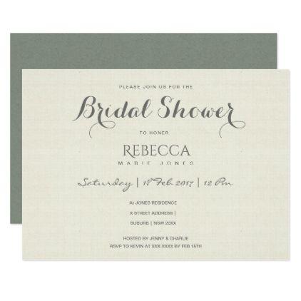 SIMPLE ELEGANT GREY TYPOGRAPHY Bridal Shower Card - minimal gifts - bridal shower template