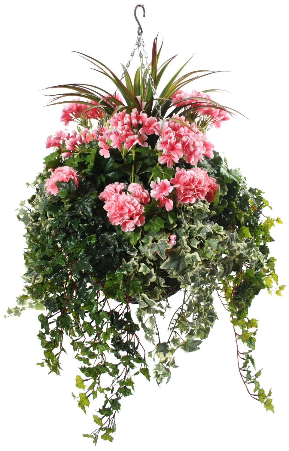 Artificial Hanging Basket With Pink Geraniums And Green Foliage