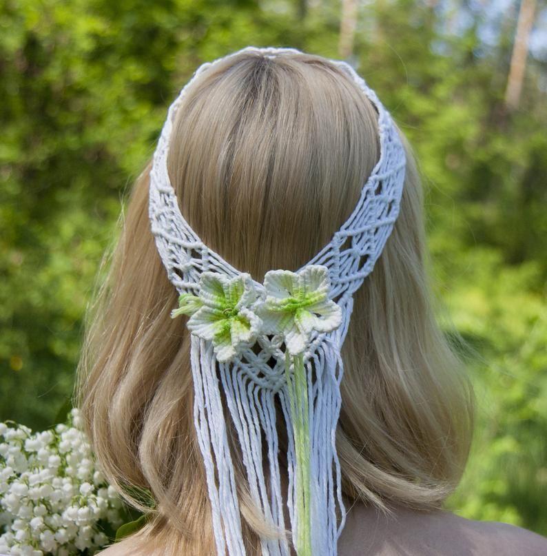 Photo of Macrame veil, wedding boho headpiece, hairpiece, engagement, wedding jewelry, cotton headband, bridal shower hair accessory, bridal tiara