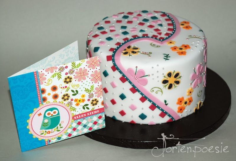 Colorful birthday Cake inspired by the greeting card / Bunte Geburtstagstorte im Stil der Glückwunschkarte