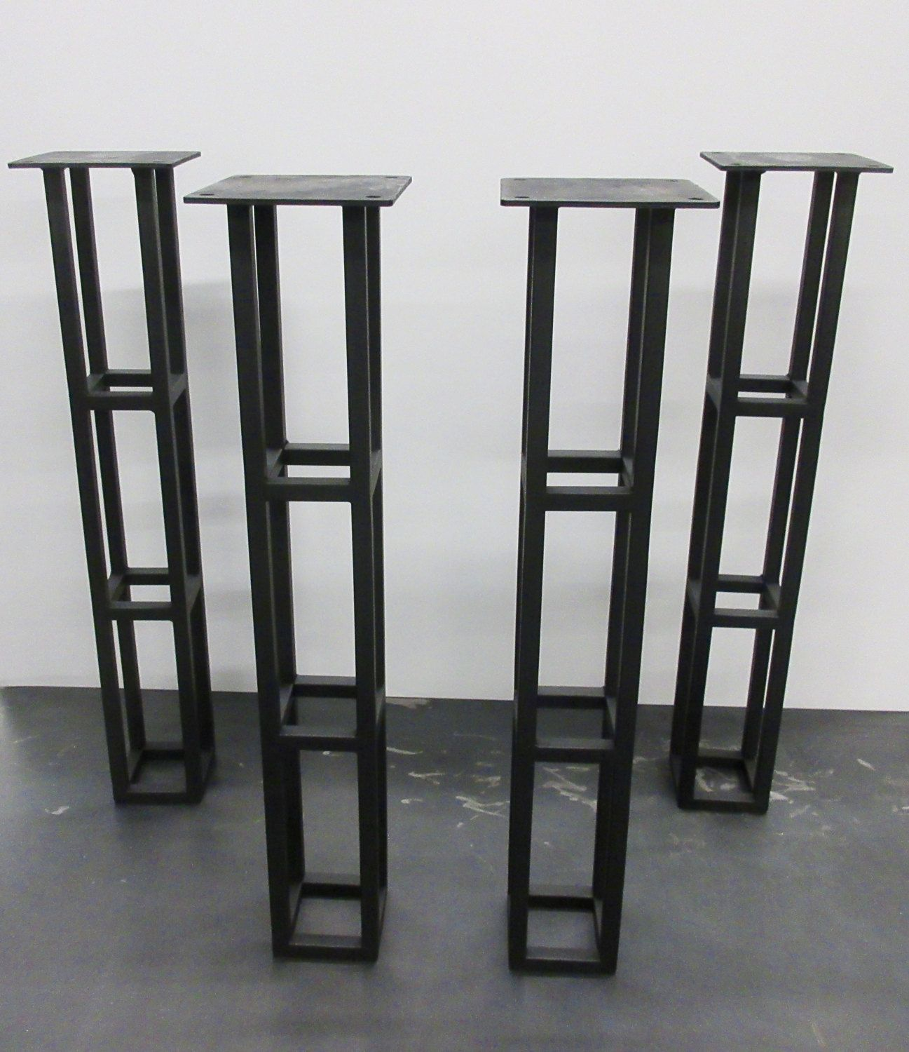 Steel Table Legs   Quad Towers Flat Black   (set Of By On Etsy
