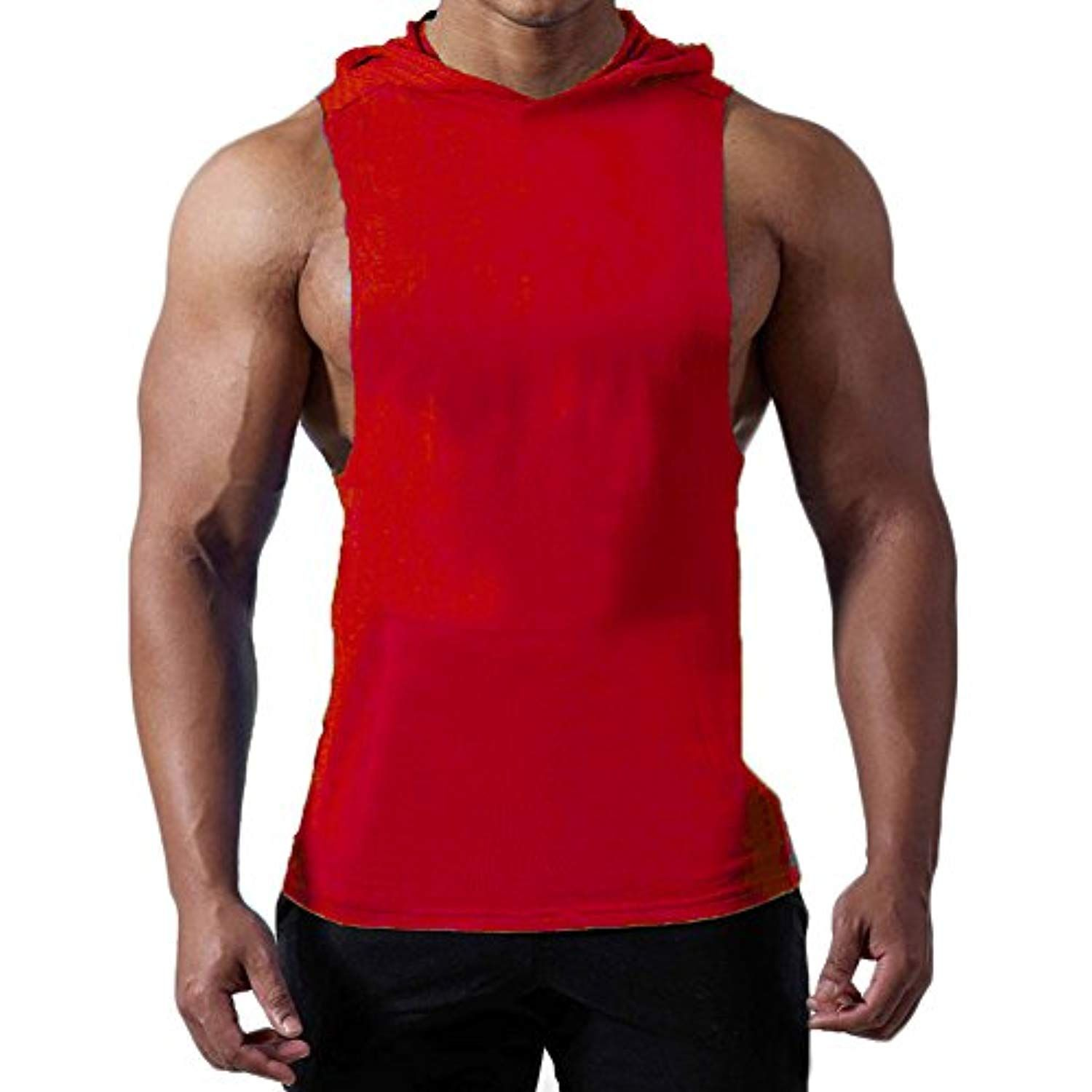 5212ddd5b1765 Magiftbox Mens Workout Hooded Tank Tops Sleeveless Gym Hoodies With Kanga  Pocket Cool and Muscle Cut     You can find more details by visiting the  image ...