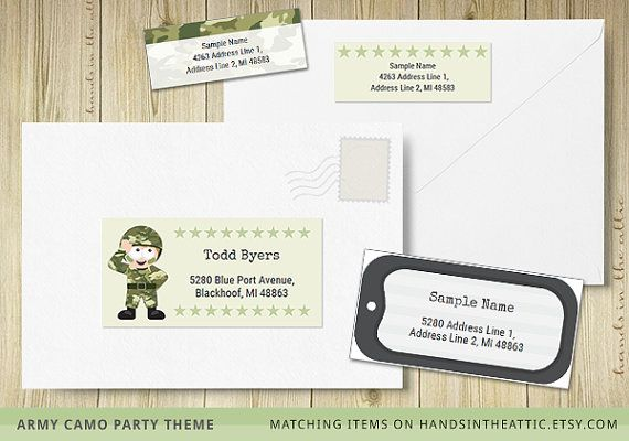 Editable labels army theme printable template military dog tag - Sample Return Address Label