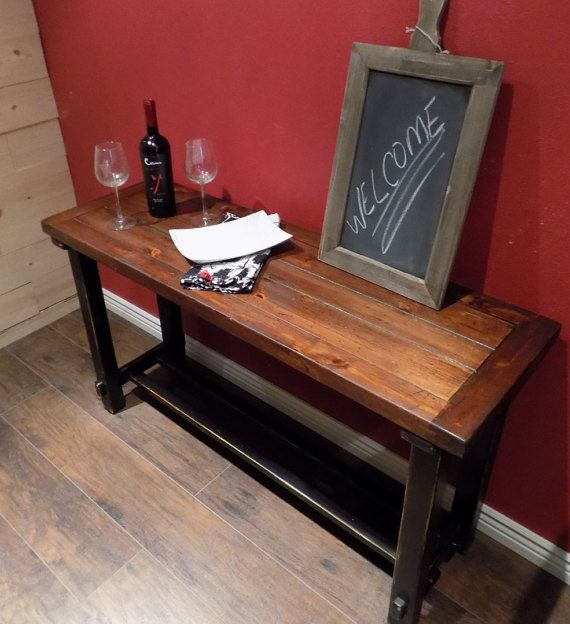 Refinished Wood Farmhouse Sofa Table ~ Distressed Black With Walnut Stain  Top ~ Entryway Table ~ Rustic Sofa Table