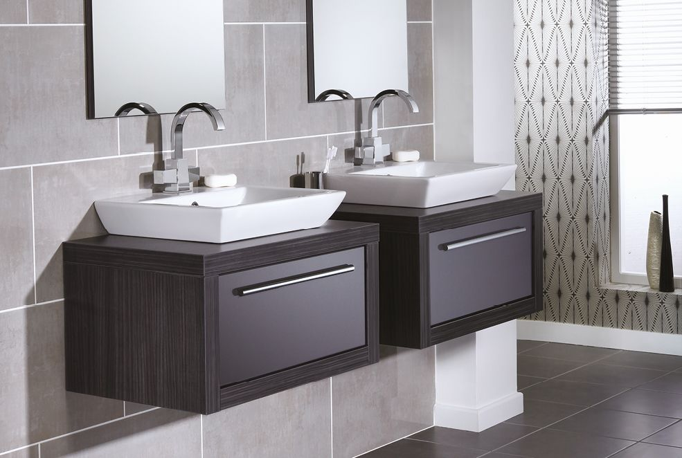 Grey Twin Bathroom Basins From Utopia Bathrooms