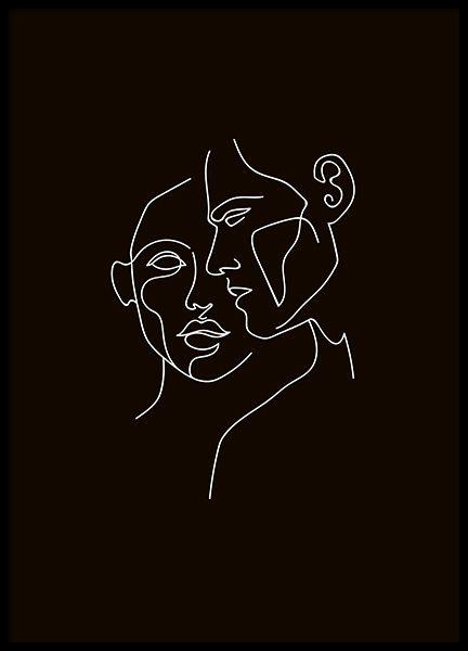 Faces No2 Black Affiche
