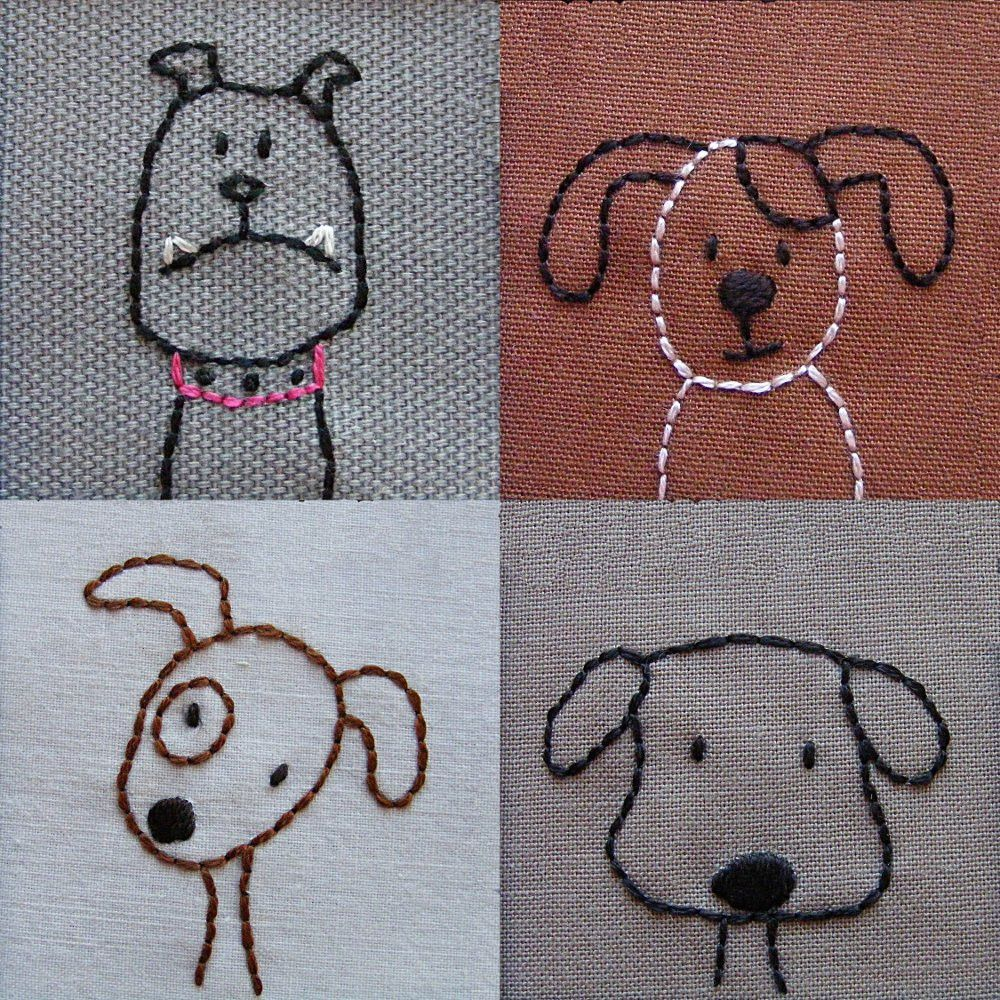 Dogs embroidery pattern stitches patterns and