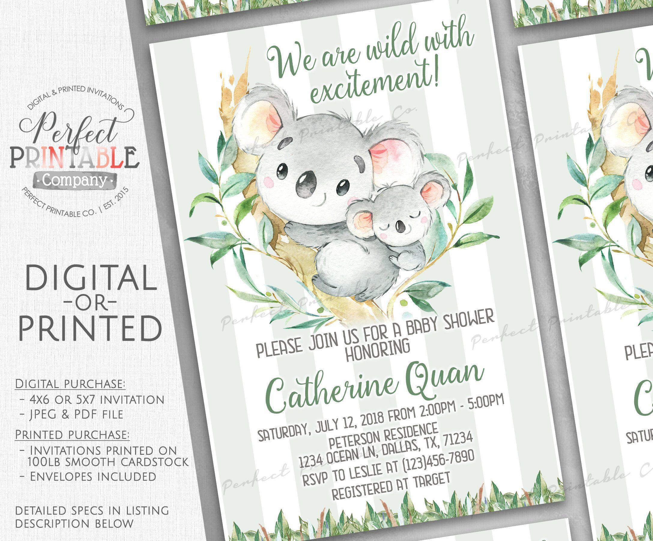 EDITABLE Koala Baby Shower Invitation  Cute Baby Shower Invitation  Oh Baby Invitation  Moon Baby Shower Invites  Twinkle Invite