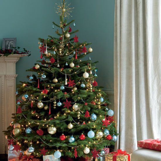 Decorated Christmas Trees rut of families decorate the